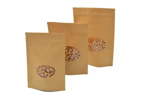 DOY-PACK KRAFT BAGS WITH OVAL WINDOW